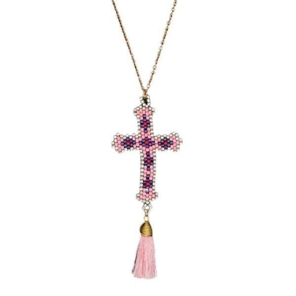 Pink Bohemian Hand-made Mikyuki Seed Bead Gold Cross Necklace - Ella Moore