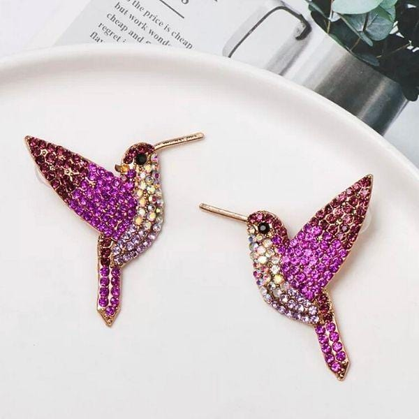 Pink Shimmering Rhinestone Humming Bird Earrings - Ella Moore