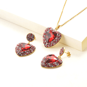 Red Brilliant Colorful CZ & Gold Heart Pendant Necklace & Earrings Set - Ella Moore