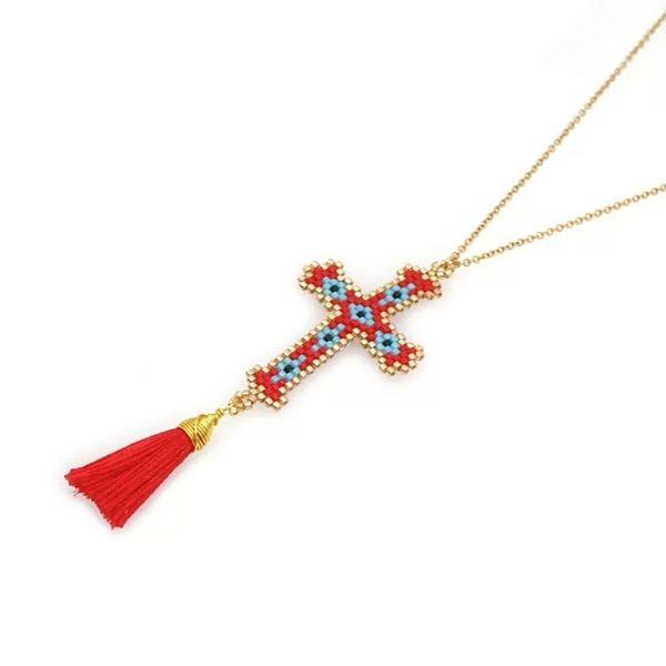 Red-Bohemian Hand-made Mikyuki Seed Bead Gold Cross Necklace - Ella Moore