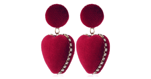 Rich Velvet Dangle Heart Earrings