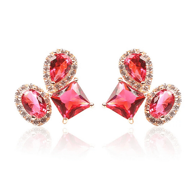Red CZ Cubic Zirconia gold Clip On Earrings - Ella Moore