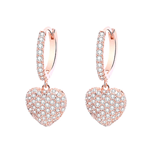 rose gold CZ Dangling Heart Earrings - Ella Moore