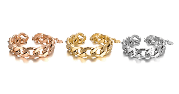 Rose Gold Yellow Gold Titanium Silver Stainless Steel Chain Linked Bracelet - Ella Moore