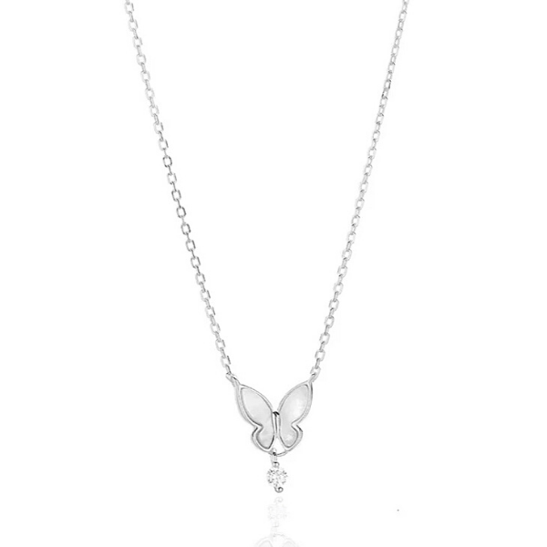 Silver CZ drop Sterling Silver Butterfly Necklace - Ella Moore