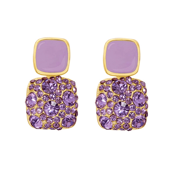 Refined Square Crystal Purple Dangle Earrings - Ella Moore