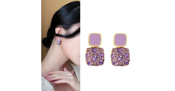 Refined Square Crystal Purple Dangle Earrings