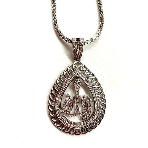 Sophisticated CZ Sterling Silver Allah Necklace - Ella Moore