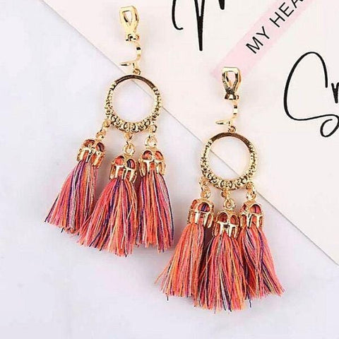 Sunset Boho-Style Clip On Tassel Earrings - Ella Moore