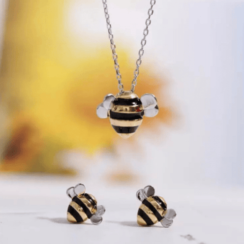 Petite Sweet Honey Sterling Silver Bee Necklace and Earrings Set - Ella Moore