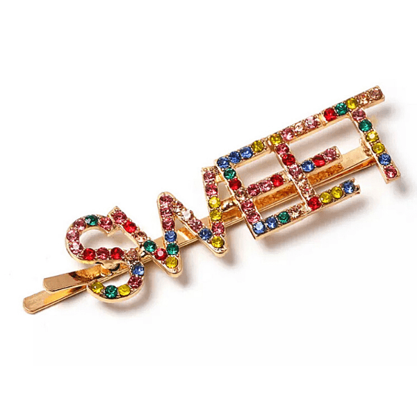 Sparkling Colorful Rhinestone Word Hair Clips