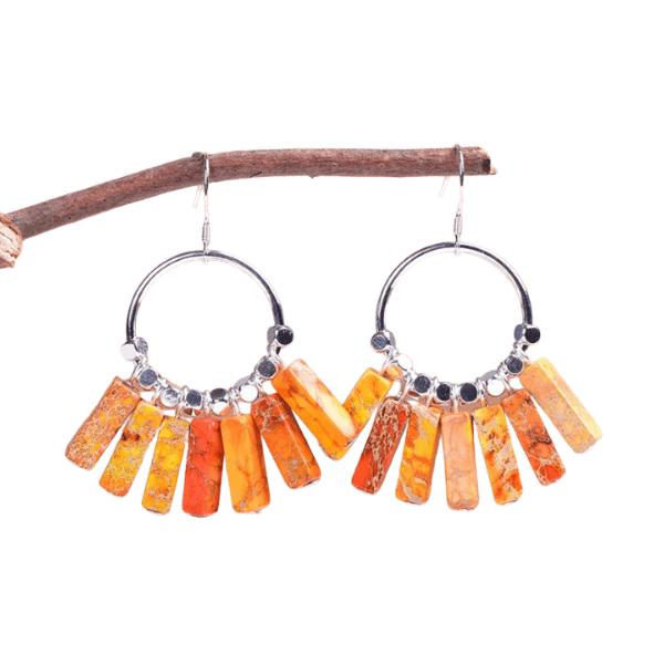 Bohemian Natural Jasper Stone Sterling Silver Hoop Earrings