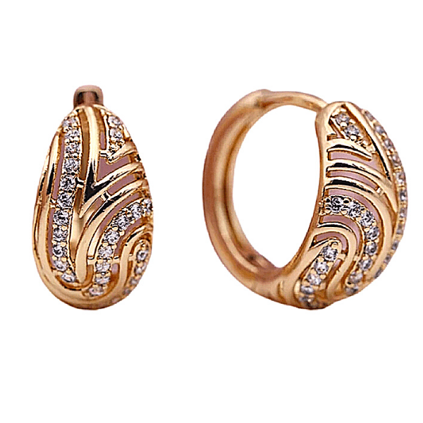 Tear Drop CZ Small Rose Gold Hoop Earrings