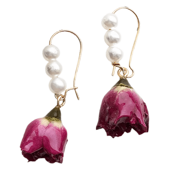 Charming Triple Pearl & Rose Gold Earrings