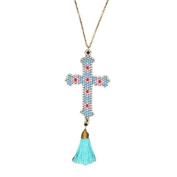 Turquoise-Bohemian Hand-made Mikyuki Seed Bead Gold Cross Necklace - Ella Moore