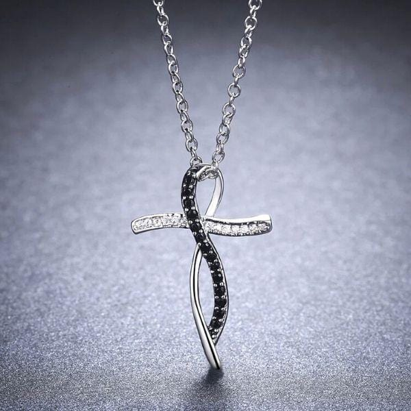 Sophisticated Black & White CZ Sterling Silver Cross Necklace - Ella Moore