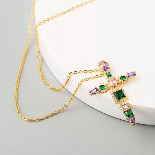 Vintage-Inspired Colorful CZ Gold Cross Necklace - Ella Moore