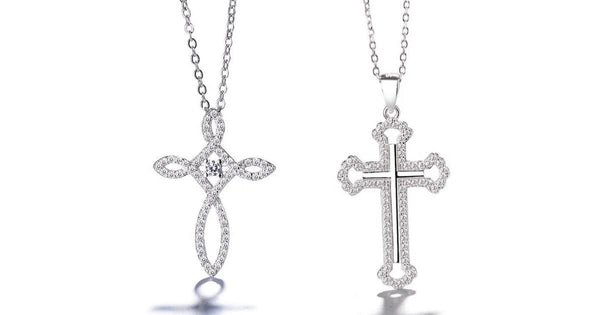 Glistening White  Loop  & Solid Style CZ Sterling Silver Cross Necklace  - Ella Moore