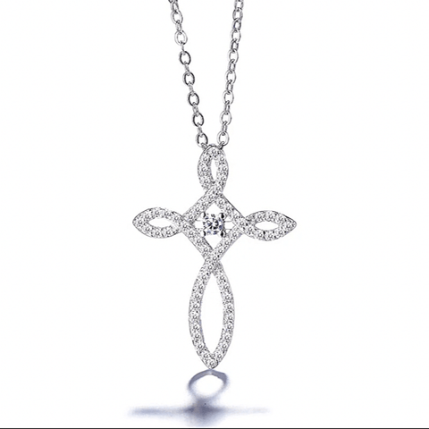 Glistening White  Loop Style CZ Sterling Silver Cross Necklace  - Ella Moore