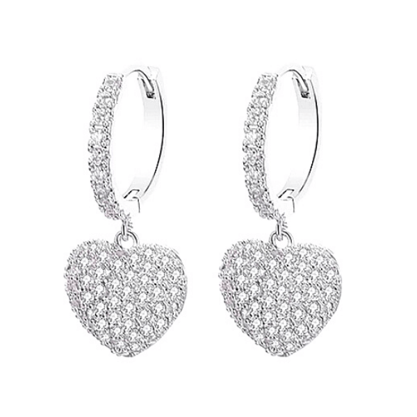 silver white gold CZ Dangling Heart Earrings - Ella Moore