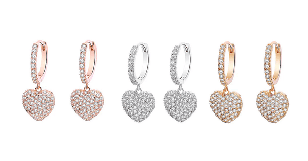White, Yellow or Rose gold CZ Dangling Heart Earrings - Ella Moore