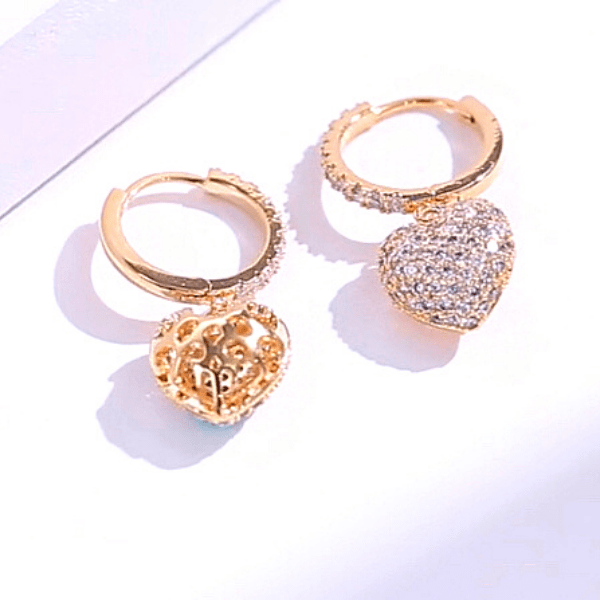 yellow gold CZ Dangling Heart Earrings - Ella Moore