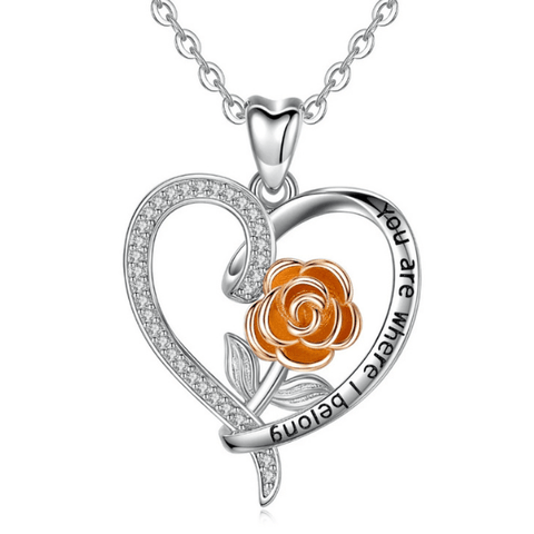 """You Are Were I Belong"" Rose Sterling Silver Heart Necklace - Ella Moore"