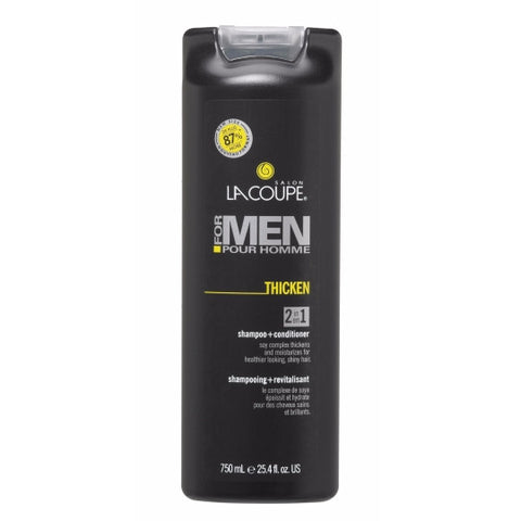 LaCoupe for Men THICKEN 2-IN-1 SHAMPOO - Case of 6/CONDITIONER|SHAMPOOING + REVITALISANT 2 EN 1 THICKEN - Caisse de 6