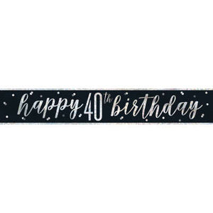 "Black & Silver Foil Banner ""Happy 40th Birthday"""