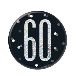 Black & Silver 60th Birthday Badge