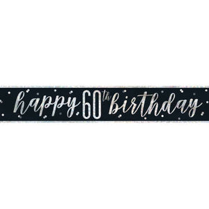 "Black & Silver Foil Banner ""Happy 60th Birthday"""