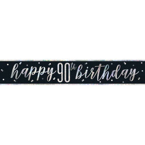 "Black & Silver Foil Banner ""Happy 90th Birthday"""