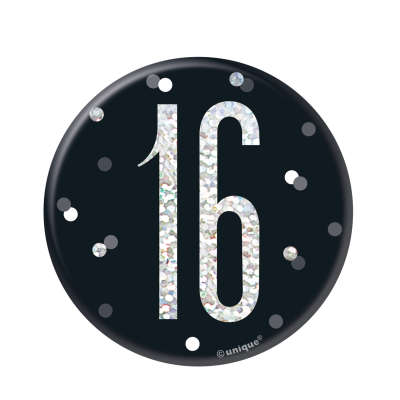 Black & Silver 16th Birthday Badge