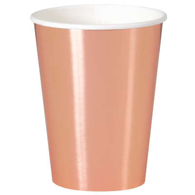 Rose Gold Foil 12oz Paper Cups 8ct - Foil Board