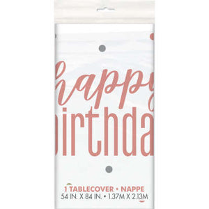 "Rose Gold ""Happy Birthday"" Plastic Table Cover 54""x84"""