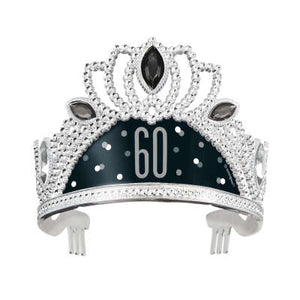 Black & Silver 60th Birthday Plastic Tiara