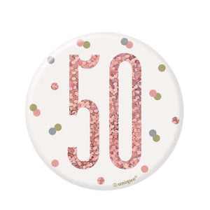 Rose Gold 50th Birthday Badge