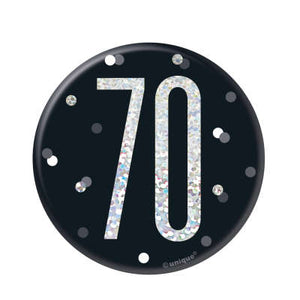 Black & Silver 70th Birthday Badge