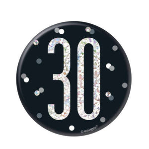 Black & Silver 30th Birthday Badge