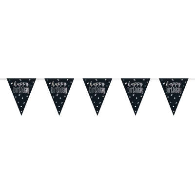 19ft Black & Silver Prismatic Plastic Flag Banner