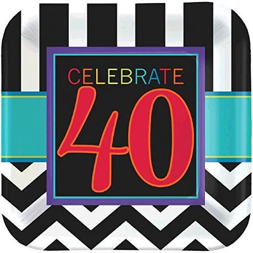 Classic 40th Birthday 7' Dessert Square Plates