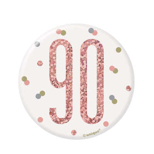 Rose Gold 90th Birthday Badge