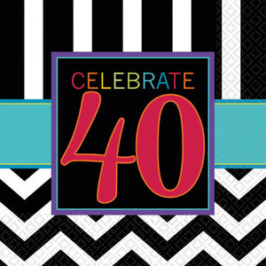 Classic 40th Birthday Luncheon Napkins