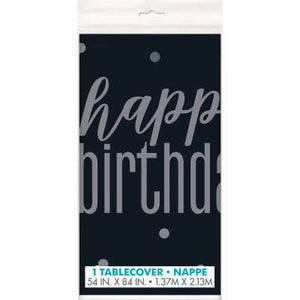 "Black & Silver ""Happy Birthday"" Plastic Table Cover 54""x84"""
