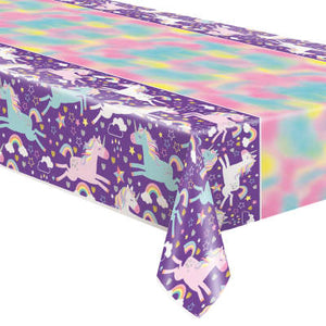 "Unicorn Birthday Party Rectangular Plastic Table Cover 54""x84"""