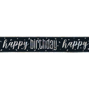 "Black & Silver Prismatic Foil Banner ""Happy Birthday"" 19ft"