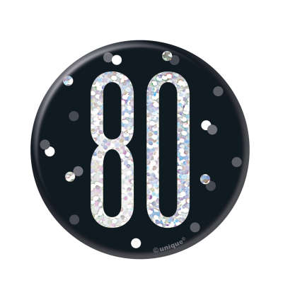 Black & Silver 80th Birthday Badge