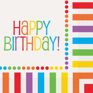 Rainbow Birthday Luncheon Napkins 16ct