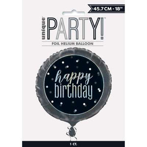 "Black & Silver 18"" Foil Balloon Packaged ""Happy Birthday"""