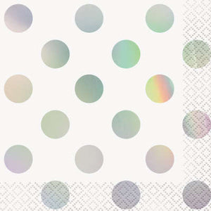Iridescent Dot Beverage Napkins 16ct - Foil Stamped Iridescent